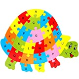 Fishinnen Colorful Wooden Animal Number and Alphabet Jigsaw Puzzle Educational Toy for Kids(Tortoise)