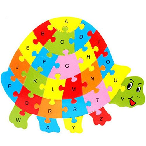 Fishinnen Colorful Wooden Animal Number and Alphabet Jigsaw Puzzle Educational Toy for Kids(Tortoise) by Fishinnen (Image #4)