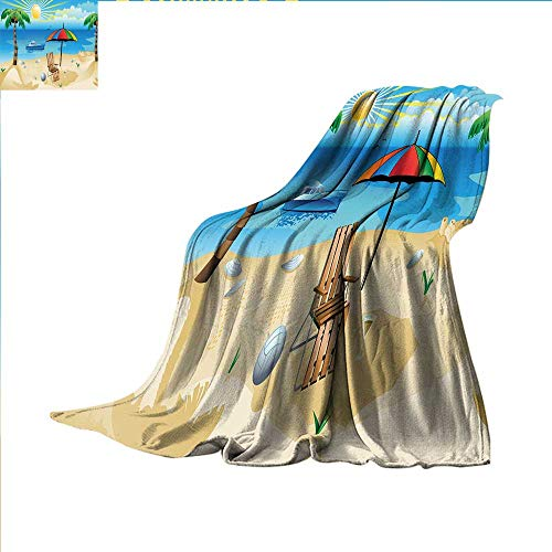 - smallbeefly Beach Digital Printing Blanket Colorful Cartoon Style Coast Pattern Boat Rainbow Umbrella Open Skyline Palm Tree Summer Quilt Comforter 90