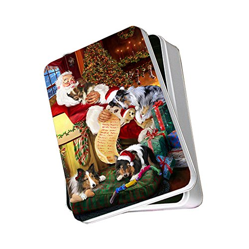 Sheltie Dog with Puppies Sleeping with Santa Photo Tin
