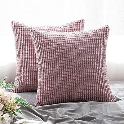 MIULEE Juego de 2 Suave gránulos Decorativo Cuadrado Funda de Almohada cojín para sofá Dormitorio Coche 18