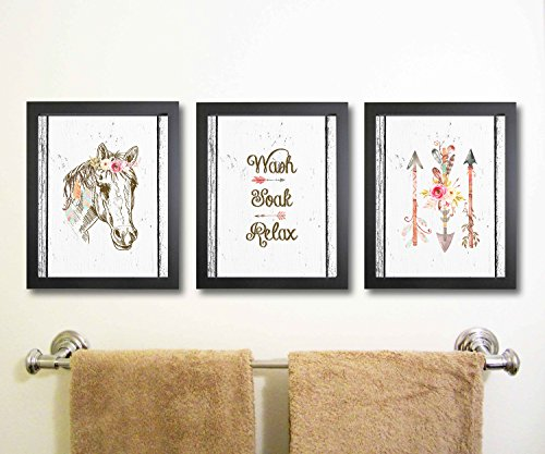 Silly Goose Gifts Boho Tribal Horse Themed Bathroom Wall Art Print Decoration (Set of 3) (Ideas Horse Decoration)
