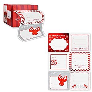 Jumbo Christmas Gift Tag Stickers 60 Count Modern Red, White, Silver, and Gold Xmas Designs – Looks Great on Gifts Presents, Wrapping Paper and Gift Bags.