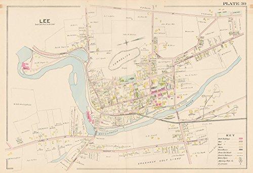 Atlas of Berkshire County Massachusetts, Lee 1904 Plate 030|24in x 18in Historic City Map Vintage - Massachusetts Lee Map