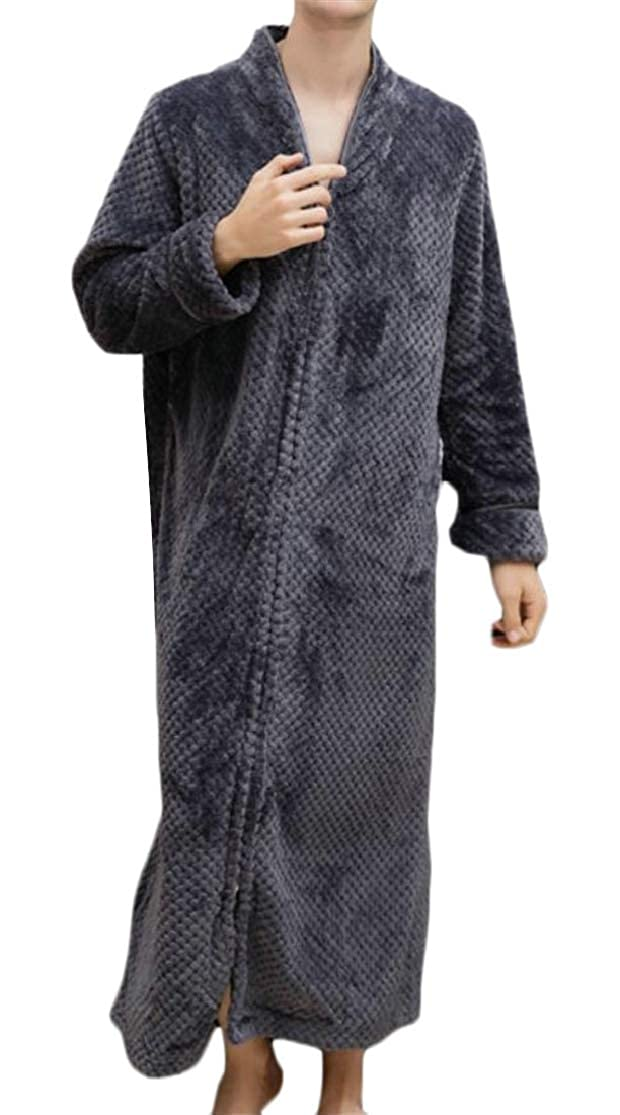 Cromoncent Mens Flannel Solid Color V-Neck Long Nightie Robe Lounge Fall Winter Bathrobe