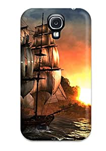 Cheap Defender Case With Nice Appearance (assassin's Creed Iv Black Flag Sunset Boat) For Galaxy S4