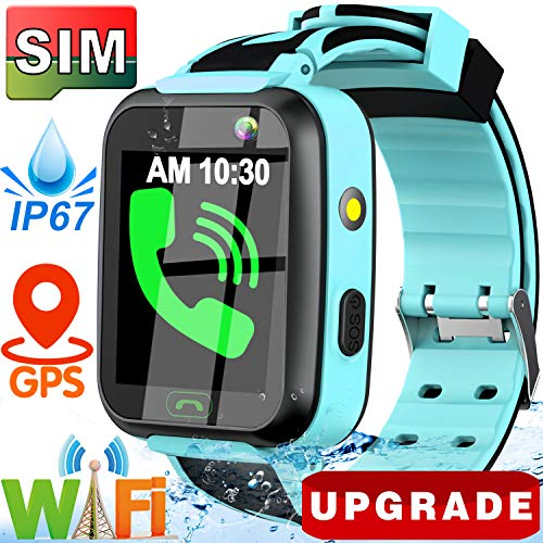([SIM Card Include] Kids Smart Watch- 2019 Upgrade Real GPS Tracker Waterproof WiFi Smart Watch Phone for Boys Girls with Fitness Tracker Pedometer Camera Alarm Clock for Kids Birthday Gifts (Blue))