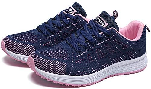 para Cordones Atléticas Libre Correr Al Mujer Azul Zapatillas para Aire Caminar para Mengxx con Zapatillas SZwqRX