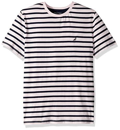 Nautica Men's Short Sleeve Striped Crew Neck T-Shirt, Cradle Pink Small ()