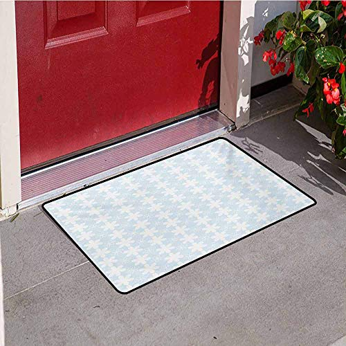 Jinguizi Floral Front Door mat Carpet Geometric Design Vertical Flowers Pattern on Baby Blue Background Artwork Machine Washable Door mat W29.5 x L39.4 Inch Baby Blue and White ()