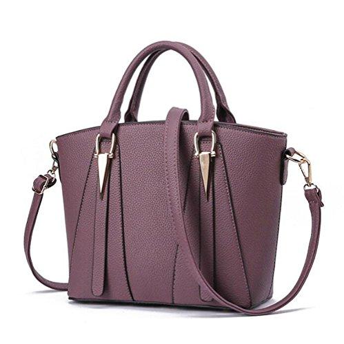Hombro Shopper De Capacidad Mujer Bolso Mano Retro Dcspring Para Bandolera Púrpura Pu Piel Gran Vintage wSgvx1qF
