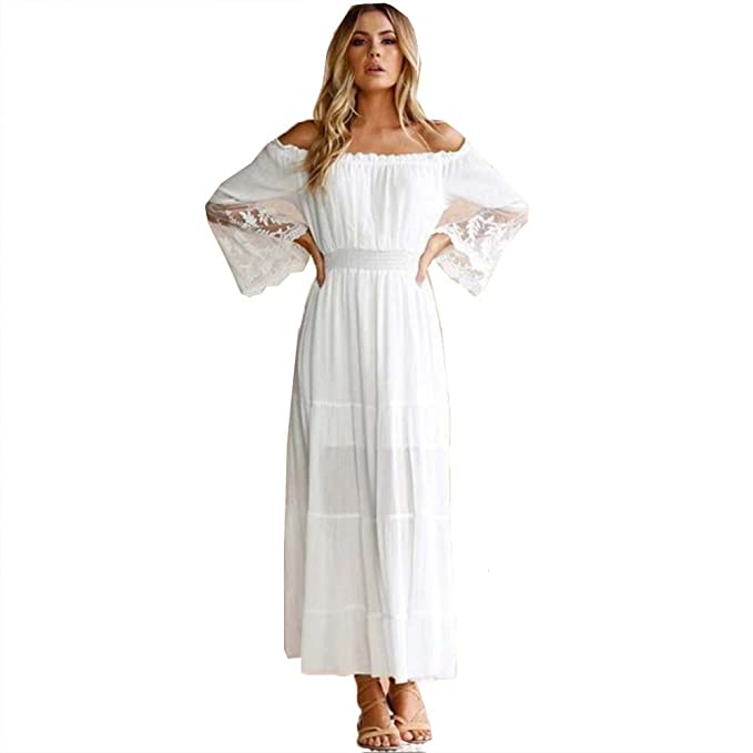 69a3d43d6666 Women White Lace Off The Shoulder Maxi Dress Summer Beach Flare Long Sleeve  Sundress (S