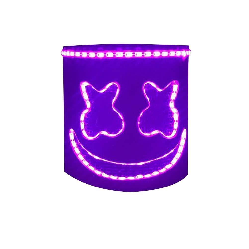DJ Marshmello Mask for Kids Adults Novelty Costume Party Mask Rubber Latex Full Head Mask ZEYIN-US Led DJ Mask