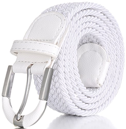 Marino Braided Stretch Belt - Fabric Woven Belt - Casual Weave Elastic Belt for Men and Women - White - M ()