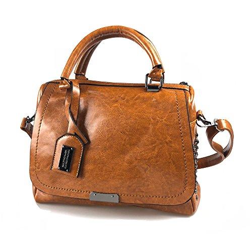 Bolso Cremallera Bolsos Bolsa Totes Modesty Grande marrón Remaches De Moda Ww003 Mujeres Hombro 4OHOARCwq