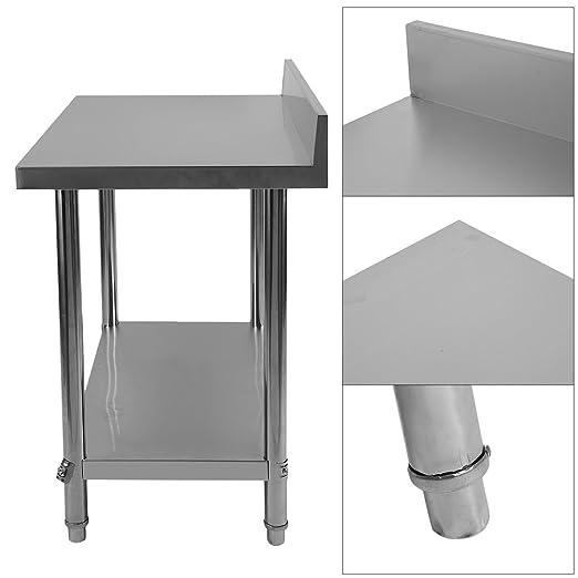 Acero inoxidable trabajo para mesa de hostelería 100 x 60 x 95 cm ...