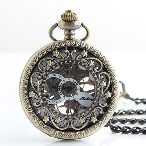 Price comparison product image TODDCAHALAN Vintage Antiqued Stainless Steel Case Skeleton Mechanical Pocket Watch with Chain F080