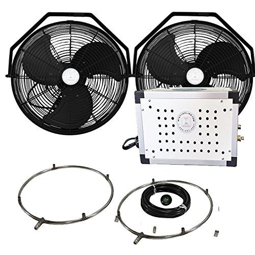 Misting Fan Kit - 18 Inch Outdoor Fan with 250 PSI Misting Pump - Stainless Steel Misting Fan Ring (2 Black Color ()