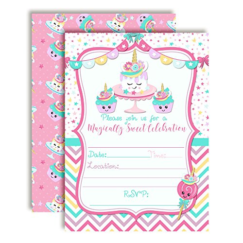 Unicorn Cake and Unicorn Cupcakes Magical Sweets Birthday Party Invitations for Girls, 20 5