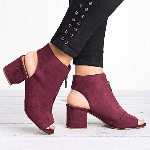 Red 1 Cut wine Booties Stacked Fashare Out Heel Low Womens Strap Open Chunky Ankle Sandals Toe qAg1ZgO4