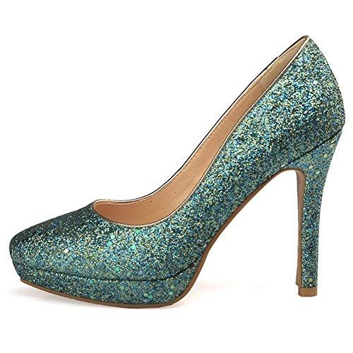 Materialer Solide sko Hæler 43 Kvinners Tå Odomolor Høye Pumper Grønn Spiss Blande xwnYq0WRz