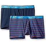 Calvin Klein Men's 2-Pack Ck One Cotton Trunk, Carey Stripe Urban Blue/Blue Shadow, Large