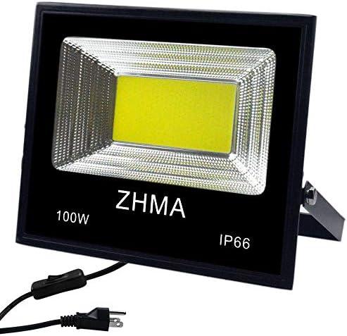 ZHMA 100W LED Flood Light, 9000lm Super Bright LED Work Light,White Light, IP66 Waterproof Spotlight Outdoor Landscape Floodlight for Garage, Garden, Lawn, Basketball Court, Playground