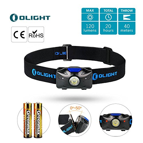 - OLIGHT h04 Active headlamp Flashlight OSRAM 120 lumens with red Light Powered by 2 x AAA Batteries,Black