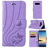 Samsung Galaxy Note 8 Wallet Case,Premium Emboss Butterfly Flip Wallet Cover, [Kickstand Feature] [Wrist Strap] [Slots] Credit Cards Pocket for Samsung Galaxy Note8 (Lightpurple)