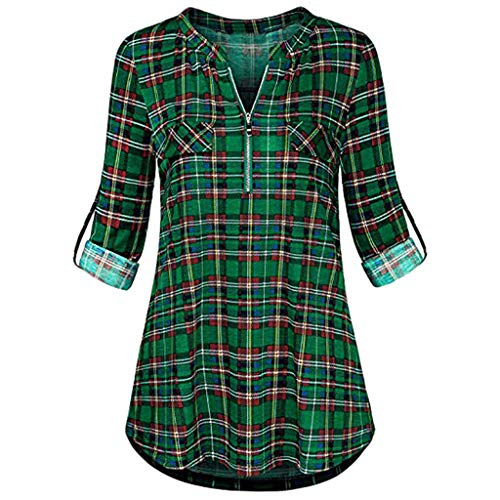Bravetoshop Women Casual 3/4 Rolled Sleeve Plaid Shirt V-Neck Zipped Front Tunic (Green, L) ()