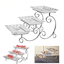 3 Tier Rectangular Serving Platter,Tiered Food Tray Stand, Three Plate Display Cake, Fruit, Snack Server. Dessert Server Stand/ Cupcake Tower / Appetizer Serving Tray