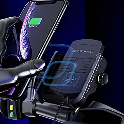 Waterproof Motorbike Handlebar Phone Holder 360 rotatable Compatible with iPhone Samsung Huawei etc. iMESTOU Motorcycle Phone Mount Wireless Charger