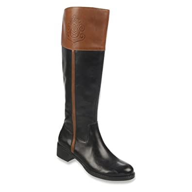 Franco Sarto Canyon Wide Calf Womens Riding Boots Black/Acorn Leather 7.5
