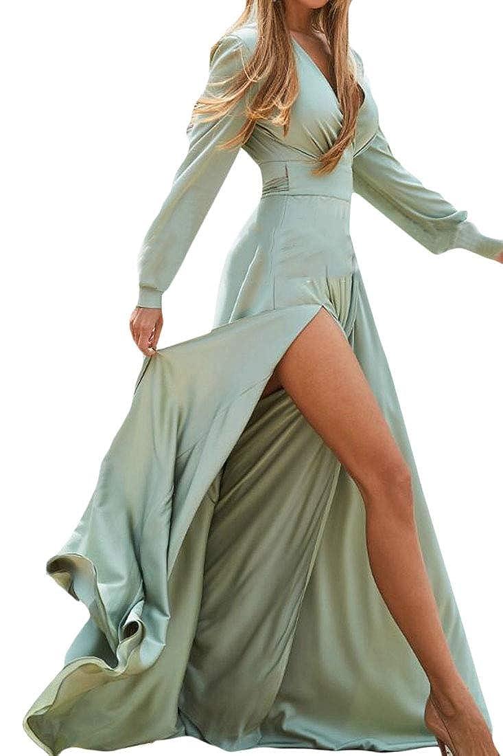 Wofupowga Womens Swing Pleated Belt Slit Vogue Party Irregular V Neck Cross Maxi Dresses