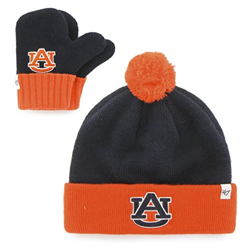 47 NCAA Auburn Tigers Toddler Bam Knit Beanie & Mittens Set, Navy, One Size