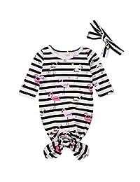 Newborn Baby Striped Sleepbag with Headband Long Sleeve Flamingo Sleeper Gown Unisex Bundler 0-9 Months (Flamingo, 0-3M)