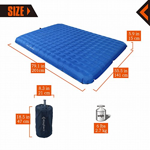 KingCamp Camping Sleeping Air Mattress Mat -2 Person Inflatable Double PVC Free Air Bed Pad with Battery Operated Pump, Suitable for Traveling Hiking Outdoor Activities