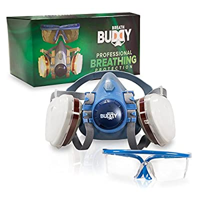 Breath Buddy Respirator Mask (Plus Safety Glasses) | Reusable Professional Breathing Protection Against Dust, Particle, Woodworking and Organic Vapors & Fumes | Perfect For Painters and DIY Projects