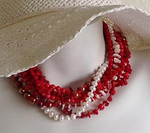 Amazon Com Lia Multi Strand Torsade Necklace Red Coral