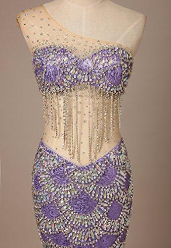 Bridal_Mall - Vestido - Sin mangas - para mujer morado