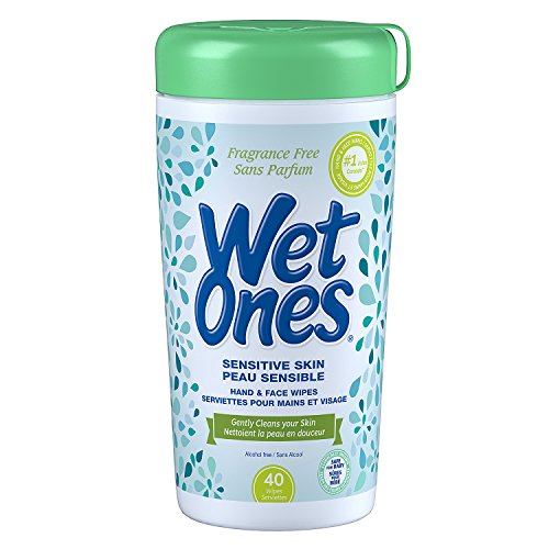 Wet Ones Sensitive Skin Alcohol-Free Hand and Face Wet Wipes, 40 Wet Wipes