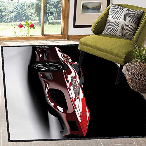 (Cars, Area Rug Soft, Automotive Industry Theme Powerful Engine Fast Technology Prestige Performance, Door Mats for Inside Non Slip Backing 5x6 Ft Red Black White)