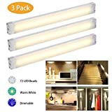 EECOO LED Under Cabinet Lighting, Dimmable Under Counter Kitchen Lighting Plug-In 12W 1005 Lumens, Warm White 4000K, Pack of 3
