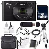 Nikon 1 J4 Mirrorless Digital Camera with 10-30mm Lens (Black) (International Model No Warranty) + EN-EL22 Battery + 16GB SDHC Memory Card + 6AVE Bundle