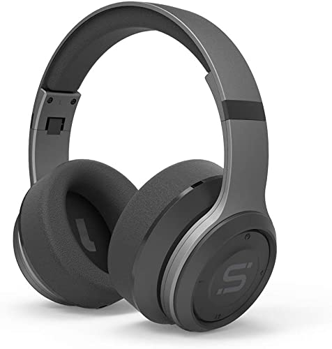 SoMi Infinite Wireless Bluetooth Headphones, Over Ear Headset, Foldable, Adjustable, Comfortable Protein Earmuffs w Built-in Mic and Wired Mode for Cell Phones PC, Gaming, Gunmetal