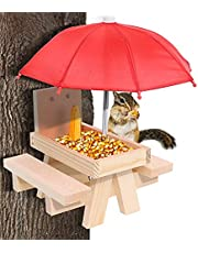 Wooden Squirrel Feeder Table with Umbrella for Outside Funny, Corn Cobs Feeder for Squirrels, Squirrel Picnic Bench Chair Food Holder Station