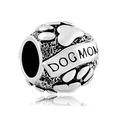 CharmSStory Paws Love Animal Dog Mom Charms Beads for Bracelets (Dog Mom) (Mom Charm Bead)