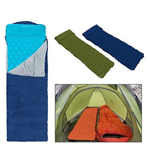 Esterilla inflable BangShou, para acampar, cama de aire interior, dormir, cojín para dormir, interior, para hacer senderismo, viajar, compatible con hamaca de tienda, Pillow design:camuflaje 9f8bf2
