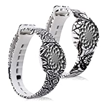 kwmobile 2in1 set: 2x Sport spare bracelet for Jawbone UP Move in lace black white, aztec ornaments black white, Inner dimensions: approx. 15,5 - 23 cm