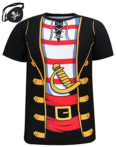 Funny World Men's Pirate Halloween Costume T-Shirts with Eye Patch (L, Black) - Adult Pirate Outfits